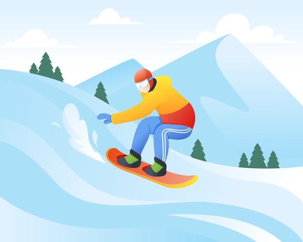 Векторная иллюстрация сноубордиста Premium векторы