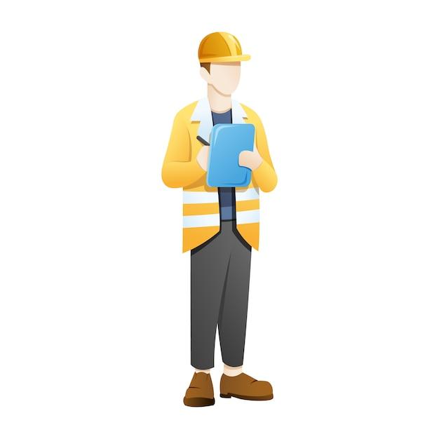 建築家またはエンジニアがチェックリスト文書を持参 Premiumベクター