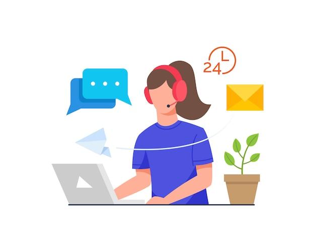 ノートパソコンの前でヘッドセットと机に座っている女性 Premiumベクター