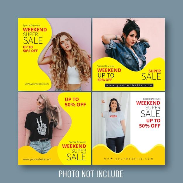 ファッション販売ソーシャルメディア&ウェブバナー Premiumベクター