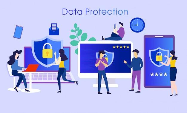 データ保護システムの文字の概念 Premiumベクター
