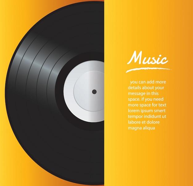 黄色のカバーの背景を持つビニールレコード Premiumベクター