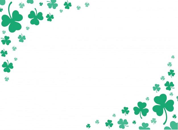 Милый зеленый клевер листья фон вектор Premium векторы