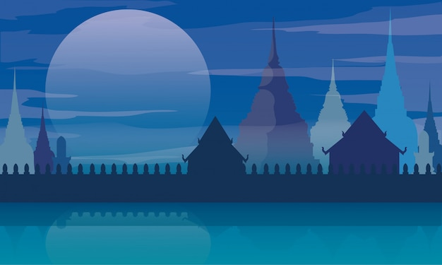 Таиланд храм ландшафтная архитектура вектор Premium векторы