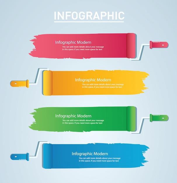 テキスト情報グラフィックテンプレート用のスペースとペイントローラー Premiumベクター