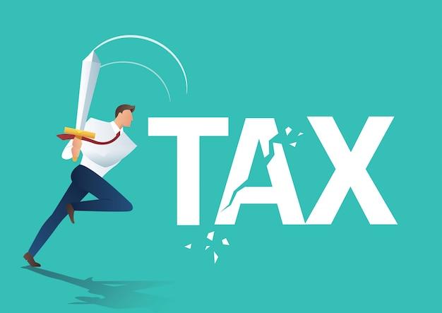 ビジネスマンの刀カット税を使用して Premiumベクター