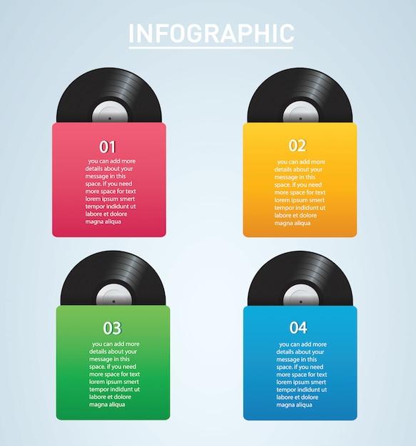 カバーモックアップインフォグラフィックビニールレコード Premiumベクター