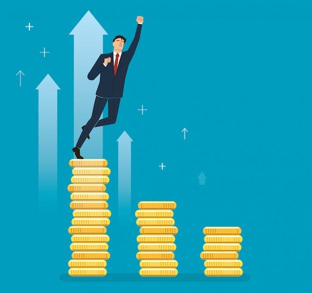 コインを祝う実業家 Premiumベクター