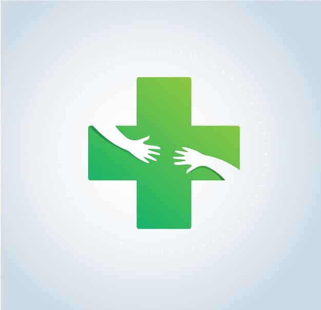 手抱擁医療ロゴシンボルベクトル Premiumベクター