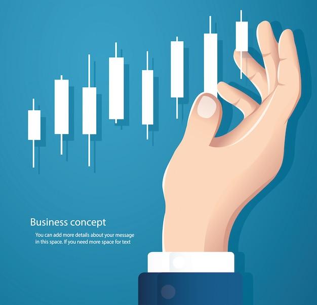 Рука фон вектор фондового рынка график подсвечник Premium векторы