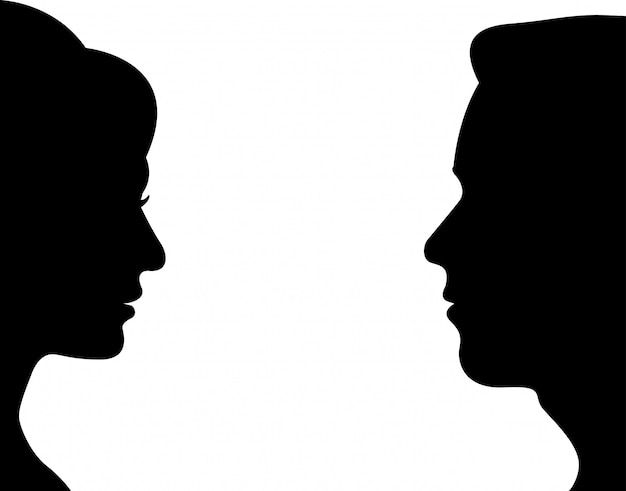 Сторона мужчина и женщина Premium векторы