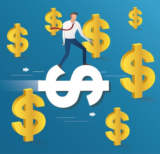 Бизнесмен ездить на иконке доллара Premium векторы