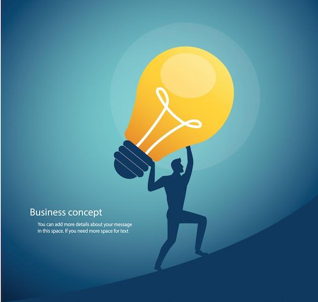 創造的思考の電球のコンセプトを運ぶビジネスマン Premiumベクター