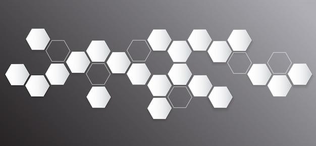 Абстрактный шестиугольник и космический фон Premium векторы