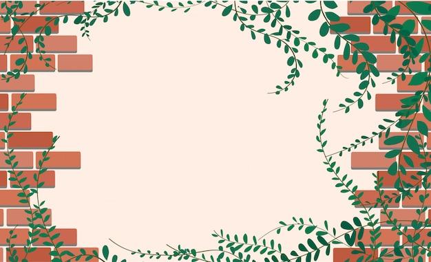 レンガと空間の壁にコートボタン植物 Premiumベクター