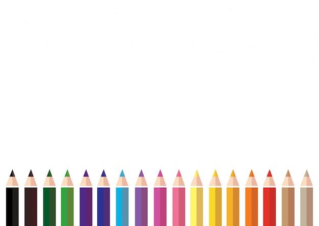 カラフルな色鉛筆の背景 Premiumベクター
