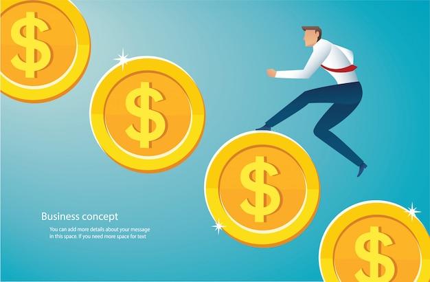 金貨を実行している実業家 Premiumベクター