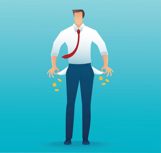 Бедный человек показывает свои пустые карманы на синем Premium векторы