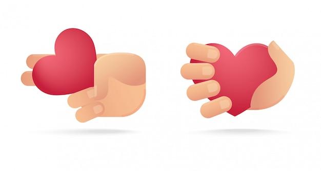 ハートのアイコンを持っている手のセット。愛の概念 Premiumベクター
