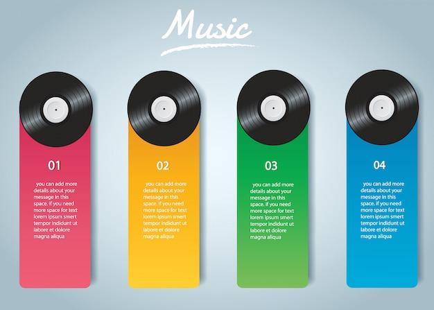 カバーインフォグラフィックベクトルとビニールレコード Premiumベクター