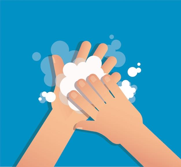Мытье рук с мылом Premium векторы