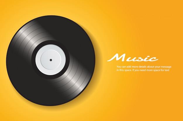 黄色の背景ベクトルを持つビニールレコード Premiumベクター