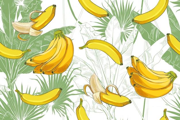 ベクトル熱帯バナナ手のひらテクスチャシームレスパターン。 Premiumベクター