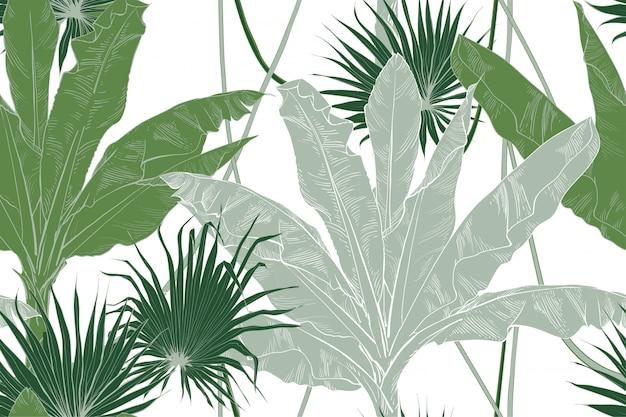 Тропический банановый лист фрукты текстурные бесшовные модели. Premium векторы