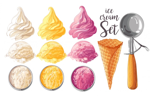 ベクトルアイスクリームのセット Premiumベクター
