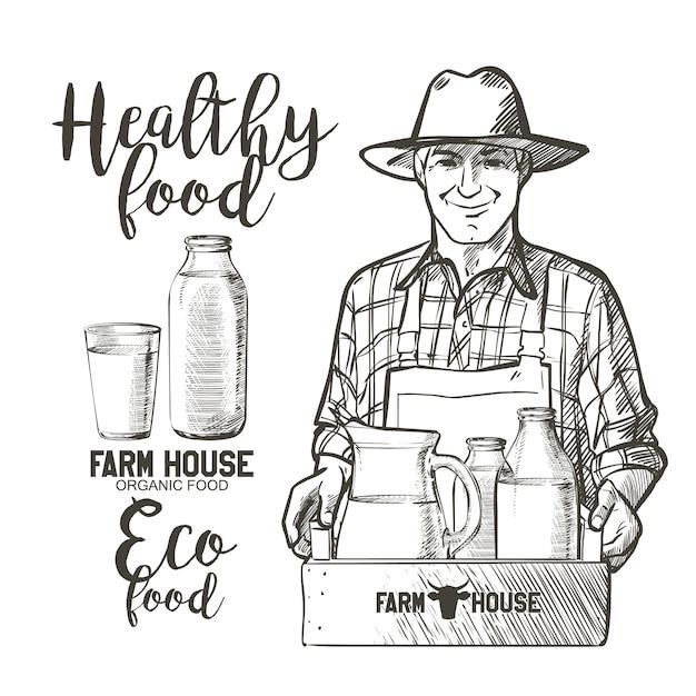 Портрет зрелого фермера с банкой и корзиной, полной бутылок с молочными продуктами Premium векторы