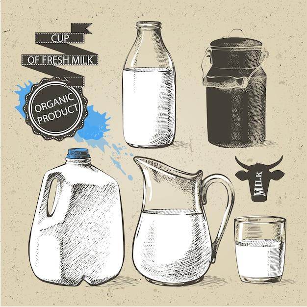 新鮮な乳製品の瓶と瓶ガロンは、白い背景で隔離の牛乳用コンテナーができます。 Premiumベクター