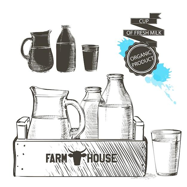 Деревянный ящик, полный бутылок и банку со свежими молочными продуктами, стакан молока, изолированные Premium векторы