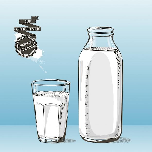 Бутылка и стакан с молоком вектор эскиз Premium векторы