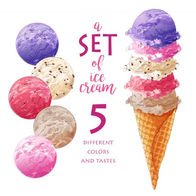 Набор векторных мороженого Premium векторы