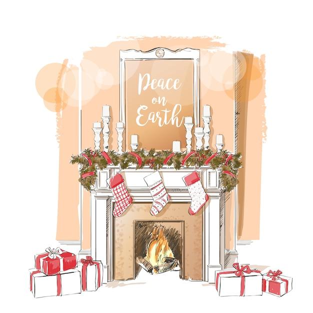 クリスマス暖炉イラスト Premiumベクター