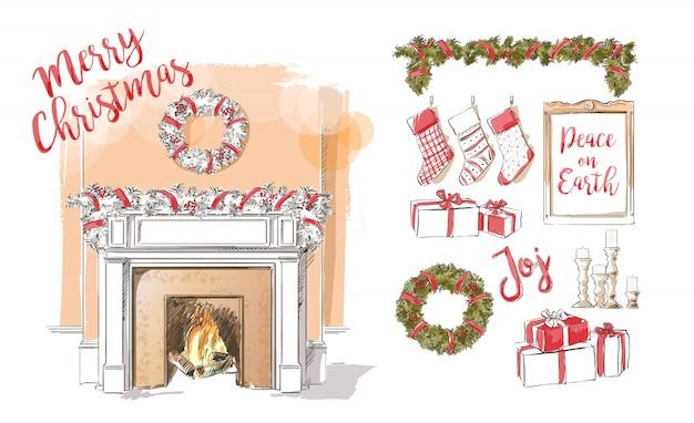 Рождество камин иллюстрация Premium векторы