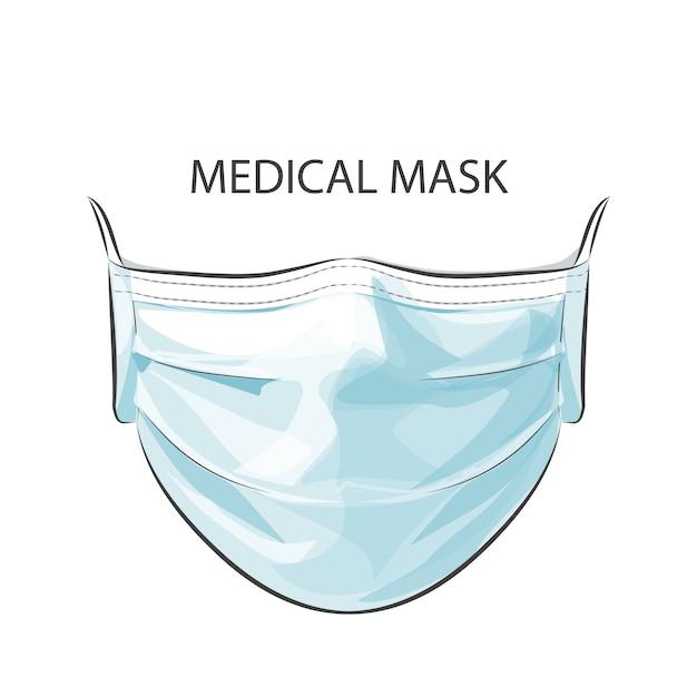 高い大気中毒汚染都市から保護するために使い捨ての医療手術用フェイスマスクを身に着けている人 Premiumベクター