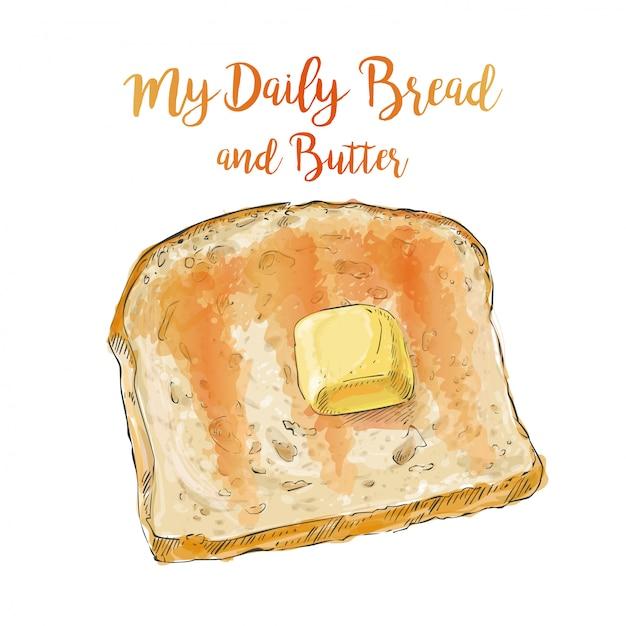 バターとベクトルパン Premiumベクター