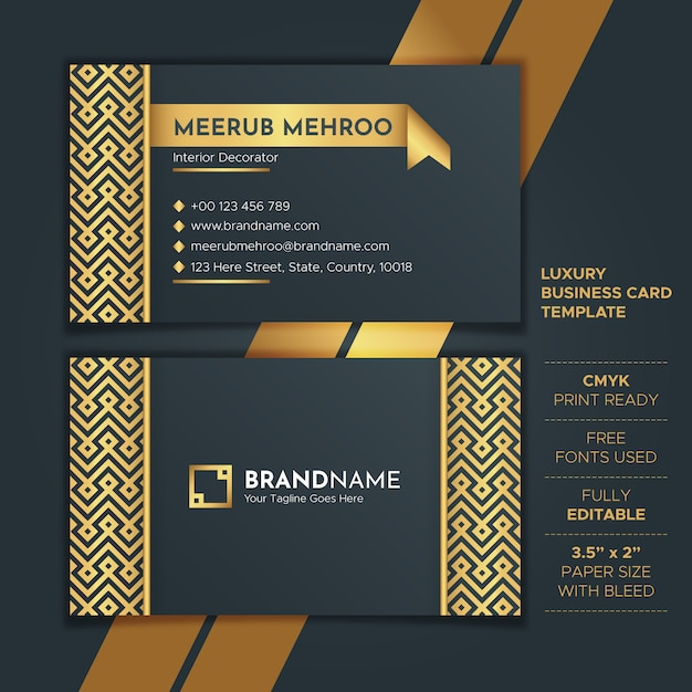 Шаблон роскошная золотая визитная карточка Premium векторы