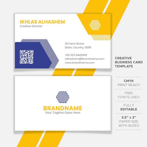 黄色と青のきれいな名刺デザイン Premiumベクター