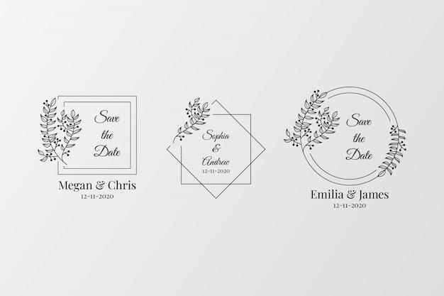 エレガントな結婚式のモノグラムのセット Premiumベクター