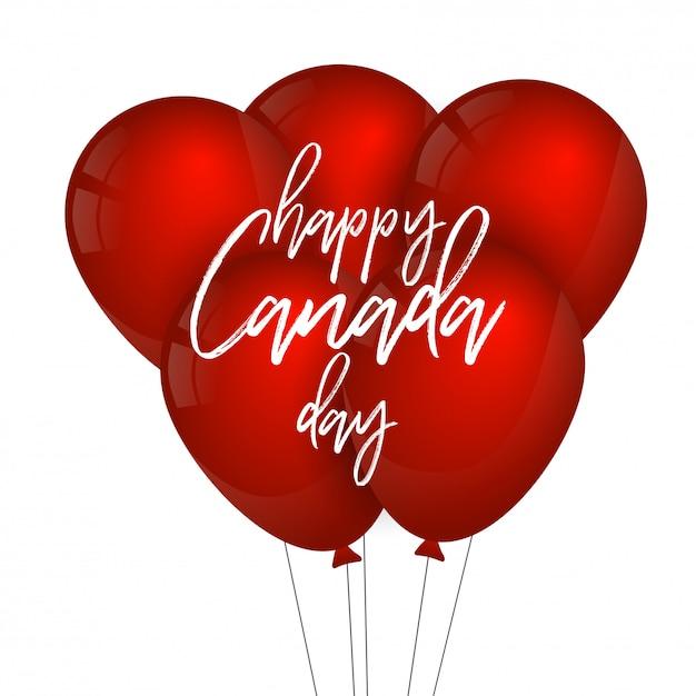 カナダの日のタイポグラフィーと赤い色の風船 Premiumベクター