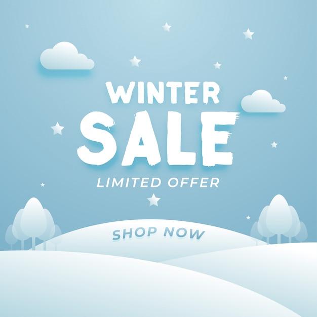 Красивая зимняя распродажа композиция с облаками и деревом Premium векторы