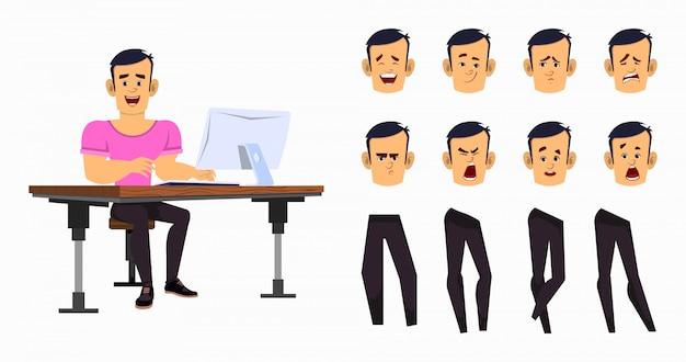 アニメーションまたはさまざまな顔の感情と手でモーションの強い漫画少年労働者。オフィスワーカーの文字セット Premiumベクター