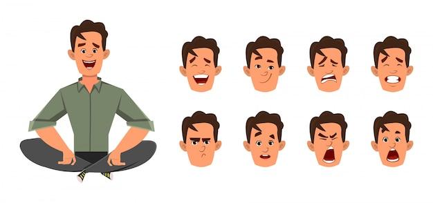 Бизнесмен делает йогу или расслабиться медитации с другим типом выражения лица Premium векторы