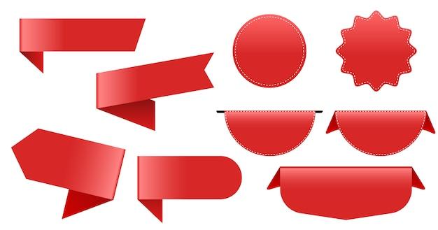 Красные метки большая коллекция. бирка лента Premium векторы