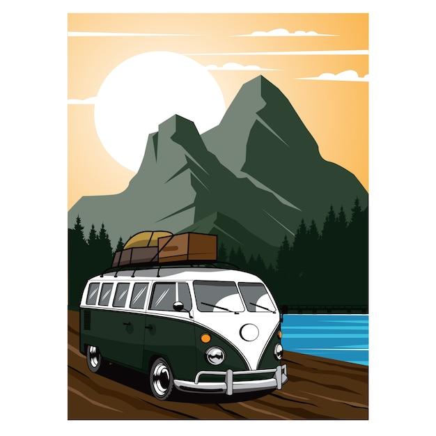 Отпуск, фургон, путешествующий на горе Premium векторы