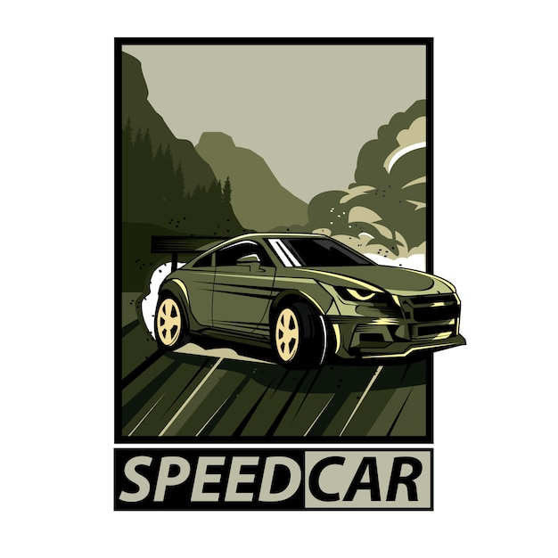 テキストとスピード車のフレーム Premiumベクター