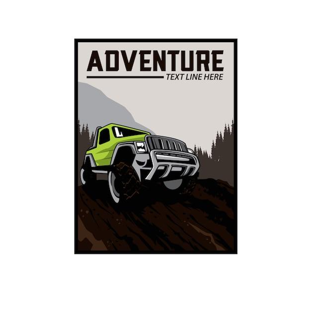丘の上の冒険車 Premiumベクター