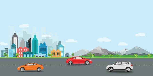 Городской пейзаж векторная иллюстрация плоский дизайн Premium векторы